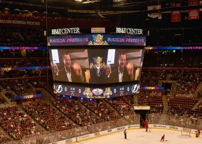 Jeff Conine makes an appearance at the Florida Panthers' game